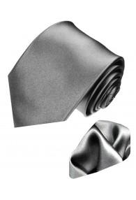 Krawattenset 100% Seide Unifarben silber grau LORENZO CANA