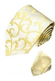 Krawattenset 100% Seide Floral gold creme LORENZO CANA