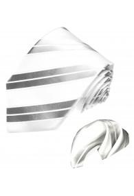 Krawattenset 100% Seide Streifen silber weiss LORENZO CANA