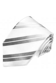 Krawatte 100% Seide Streifen silber weiss LORENZO CANA
