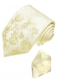 Krawattenset 100% Seide Floral beige elfenbein LORENZO CANA