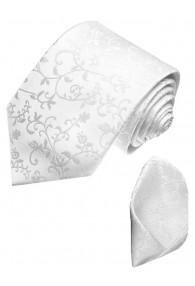 Krawattenset 100% Seide Floral weiss silber LORENZO CANA