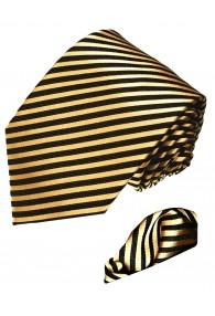 Krawattenset 100% Seide Streifen gold schwarz LORENZO CANA