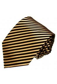 XL Herrenkrawatte 100% Seide Streifen gold schwarz LORENZO CANA