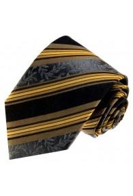 Krawatte 100% Seide Streifen schwarz braun LORENZO CANA