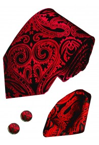 Krawattenset 100% Seide Paisley schwarz rot purpur LORENZO CANA