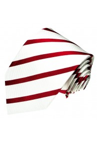 Krawatte 100% Seide Streifen weiss rot LORENZO CANA