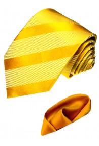 Krawattenset 100% Seide Streifen gold orange LORENZO CANA