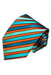 Krawatte 100% Seide Streifen türkis orange LORENZO CANA
