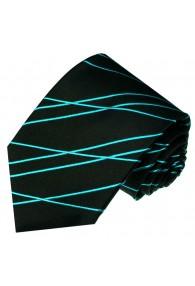 Krawatte 100% Seide Streifen schwarz türkis LORENZO CANA