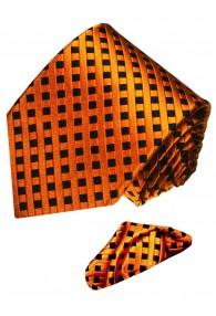 Krawattenset 100% Seide Karo orange schwarz LORENZO CANA