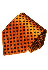 Krawatte 100% Seide Karo orange schwarz LORENZO CANA