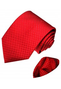Krawattenset 100% Seide Punkte rot weiss LORENZO CANA