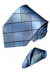 Krawattenset 100% Seide Karo silberblau blaugrau LORENZO CANA
