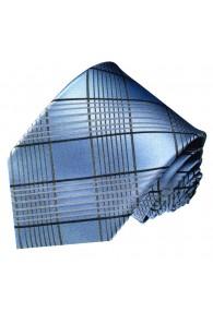 Krawatte 100% Seide Karo silberblau blaugrau LORENZO CANA