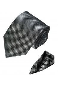 Krawattenset 100% Seide Hahnentritt silber schwarz LORENZO CANA