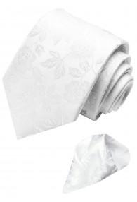 Krawattenset 100% Seide Floral weiss hellgrau LORENZO CANA
