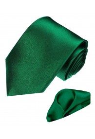 Krawattenset 100% Seide Unifarben jägergrün dunkelgrün LORENZO CANA