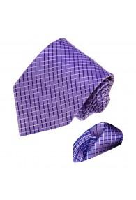 Krawattenset 100% Seide Karo lila violett LORENZO CANA