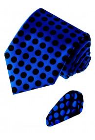 Krawattenset 100% Seide Punkte dunkelblau schwarz LORENZO CANA