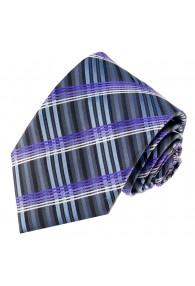 Krawatte 100% Seide Streifen graublau violett LORENZO CANA