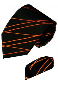 Krawattenset 100% Seide Streifen schwarz orange LORENZO CANA