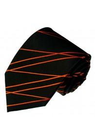 Krawatte 100% Seide Streifen schwarz orange LORENZO CANA
