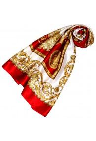 Tuch für Damen gold weiss rot Seide Floral LORENZO CANA