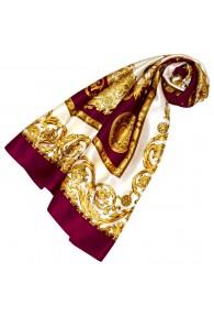 Tuch für Damen gold weiss bordeaux Seide Floral LORENZO CANA