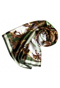 Tuch für Damen grün hellbraun weiss Seide Floral LORENZO CANA