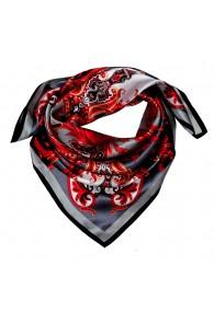Tuch für Herren grau rot weiss Seide Floral LORENZO CANA
