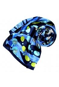 Tuch für Damen blau dunkelblau grün Seide Floral LORENZO CANA