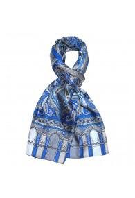 Seidenschal Herren blau grau Paisley LORENZO CANA