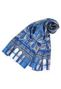 Seidenschal Damen blau grau Paisley LORENZO CANA