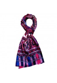 Seidenschal Herren rosa violett blau rot Paisley LORENZO CANA