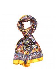 Schal für Männer gelb lila scharz weiss Paisley LORENZO CANA