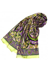 Schal für Frauen grün violett gelb Paisley LORENZO CANA
