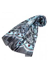Tuch für Damen hellblau grau rot Seide Floral LORENZO CANA