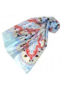 Tuch für Damen hellblau rot weiss Seide Floral LORENZO CANA