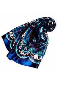 Tuch für Damen dunkelblau silber rot Seide Floral LORENZO CANA