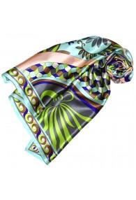 Tuch für Damen türkis orange grau grün Seide Floral LORENZO CANA