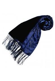 Seidenschal Damen Damast Floral blau dunkelblau LORENZO CANA