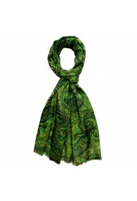 Herrenschaltuch Paisley grün gelb LORENZO CANA