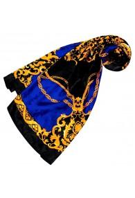 Tuch für Damen blau schwarz gold Seide Floral LORENZO CANA