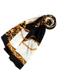 Tuch für Damen weiss schwarz gold Seide Floral LORENZO CANA