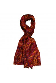 Seidenschal Herren rot violett orange Wolle Paisley LORENZO CANA