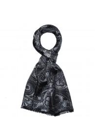 Seidenschal Herren schwarz grau anthrazit Wolle Paisley LORENZO CANA