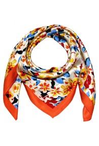 Halstuch aus Seide orange Floral LORENZO CANA