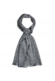 XL Schal für Damen Seide Silber Punkte LORENZO CANA