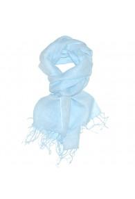 Herrenschal 100% Leinen Unifarben babyblau himmelblau LORENZO CANA